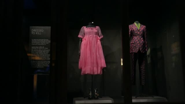 bafta opens its doors for first time with new costume exhibition england london piccadilly british academy of film and television arts out pink dress... - pink stock videos & royalty-free footage
