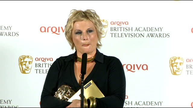 bafta television awards interviews with winners jennifer saunders winner of the bafta television award for female performance in a comedy programme... - jennifer saunders stock videos & royalty-free footage
