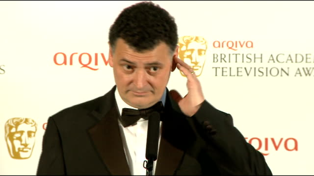 bafta television awards interviews with winners steven moffat writer and producer of sherlock and doctor who winner of the bafta television special... - doctor who stock videos and b-roll footage
