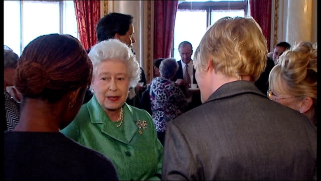 blue peter 50th anniversary tea party at buckingham palace queen talking to jordan and yvette fielding lesley judd konnie huq john noakes and simon... - john noakes stock videos and b-roll footage