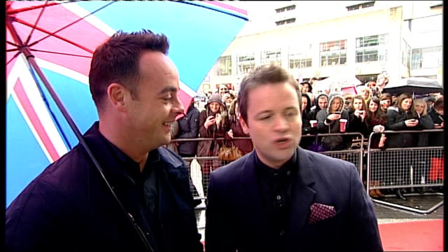 britain's got talent auditions in manchester; ant and dec red carpet interview sot - on return of simon cowell to this series of the show david... - britain's got talent stock-videos und b-roll-filmmaterial