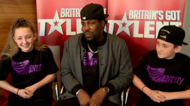 'britain's got talent': entity allstars interview; england: london: int entity allstars interview sot - britain's got talent stock-videos und b-roll-filmmaterial