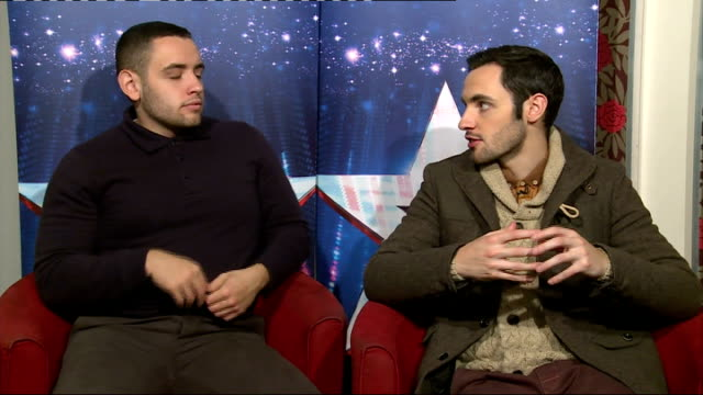 'britain's got talent': richard and adam johnson and francine lewis interviews; england: london: int richard johnson and adam johnson interview sot - britain's got talent stock-videos und b-roll-filmmaterial