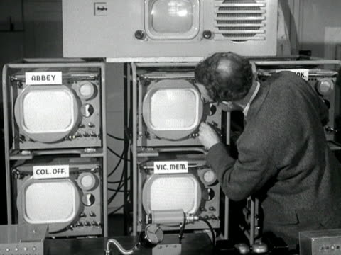 bbc television cameras are checked in the control room in preparation for covering the coronation ceremony and procession 1953 - coronation stock videos and b-roll footage