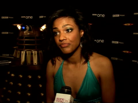 celebrity interviews at launch of 'doctor who' series 3; freema agyeman , wearing halterneck green dress, interview sot - on working on doctor who /... - doctor who stock videos & royalty-free footage