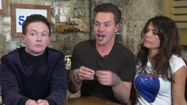 'celebs on the ranch' interviews england london int stephen bailey bobby norris and jenny powell interview sot // - jenny powell stock videos & royalty-free footage