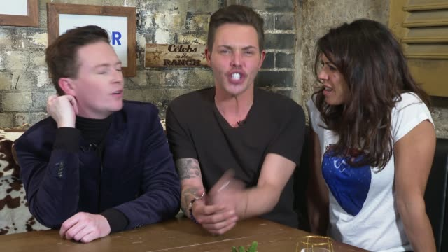 'celebs on the ranch' interviews england london int stephen bailey bobby norris and jenny powell interview sot / - jenny powell stock videos & royalty-free footage