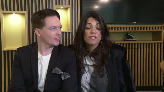 'celebs on the ranch' junket interviews england london int stephen bailey and jenny powell interview sot - jenny powell stock videos & royalty-free footage