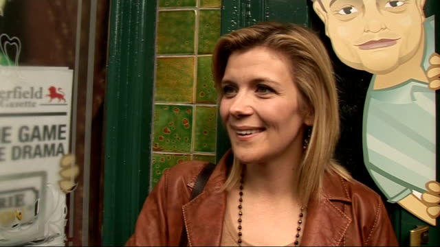 coronation street 50th anniversary party gvs and interviews jane danson interview sot on the party / proud to be part of corrie / anniversary still... - jane danson stock videos and b-roll footage