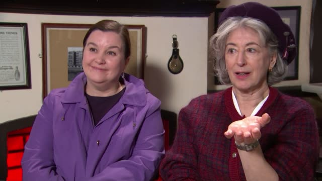'coronation street' celebrates its 10000th episode england manchester int maureen lipman interview sot reporter to camera close shot of 'coronation... - soap opera stock videos & royalty-free footage