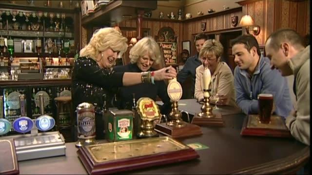 coronation street creator tony warren dies aged 79 lib / england manchester granada television studios photography*** camilla duchess of cornwall... - ソープオペラ点の映像素材/bロール