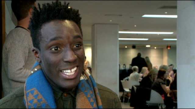 'dancing on ice 2012' launch celebrity interviews andy akinwolere interview sot on how training is going / being accident prone hurting his knee and... - spandex stock videos & royalty-free footage