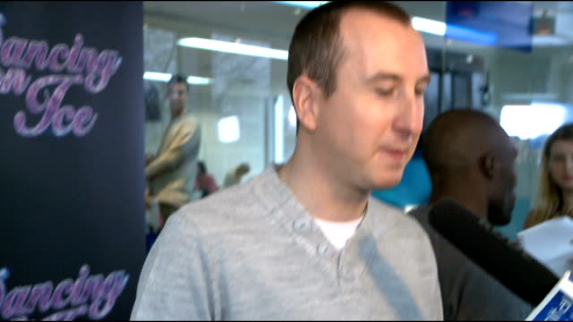 'dancing on ice 2012' launch celebrity interviews andy whyment speaking to press sot andy whyment interview sot on how training is going on not being... - lycra stock-videos und b-roll-filmmaterial
