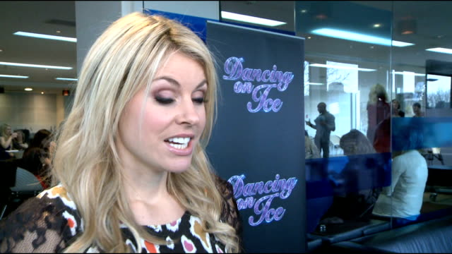 'dancing on ice 2012' launch celebrity interviews chemmy alcott interview sot on being nervous that people assume that as she can ski professionally... - metalwork stock videos & royalty-free footage