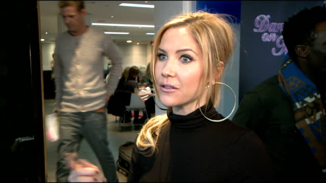 'dancing on ice 2012' launch celebrity interviews heidi range interview sot on how training has been going on a setback with her partner rupturing... - bicep stock videos and b-roll footage