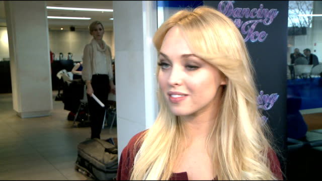 'dancing on ice 2012' launch celebrity interviews jorgie porter interview continues sot on one of the mcqueen's being on the show before and jennifer... - soap opera stock videos & royalty-free footage