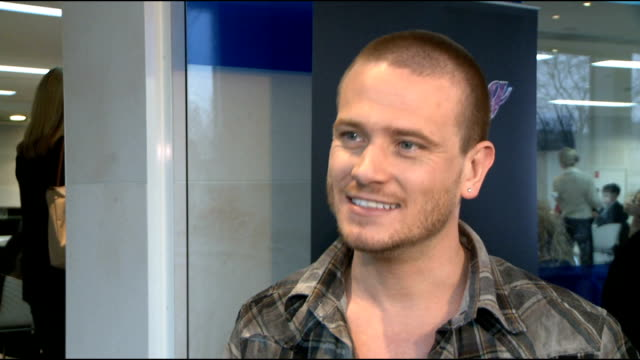 'dancing on ice 2012' launch: celebrity interviews; matthew wolfenden interview sot - on how training has been going so far - on not skating for fun... - seifenoper stock-videos und b-roll-filmmaterial