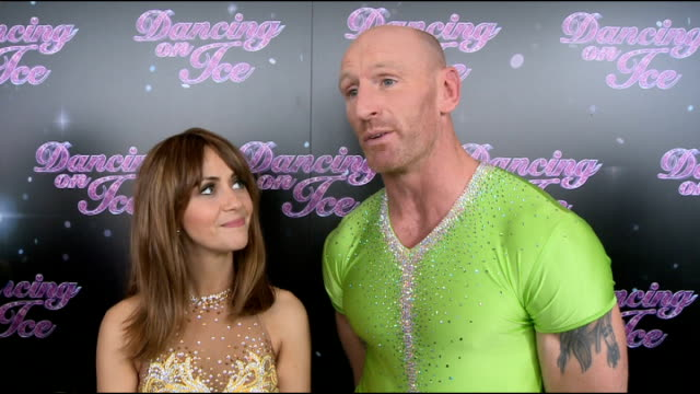 dancing on ice 2013 launch photocall and inteviews samia ghadie and gareth thomas red carpet photocall and interview sot/ pamela anderson red carpet... - gareth thomas rugby player stock videos & royalty-free footage