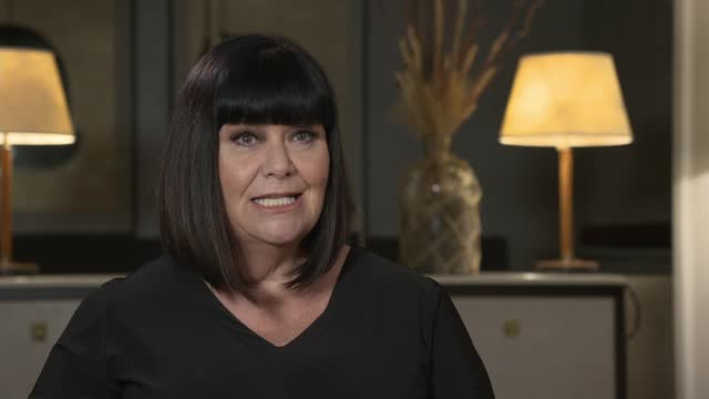 stockvideo's en b-roll-footage met dawn french interview on return of 'the vicar of dibley'; england: london: dawn french interview sot. - on jennifer saunders - dawn french