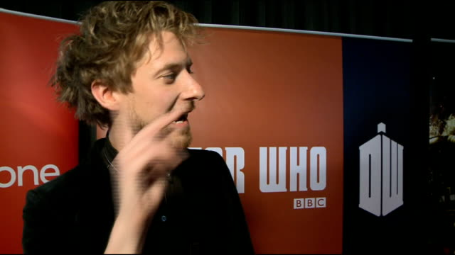 doctor who series 7 premiere; arthur darvill interview sot - on being sad that this is his last series / working with matt / being good friends... - doctor who stock videos & royalty-free footage