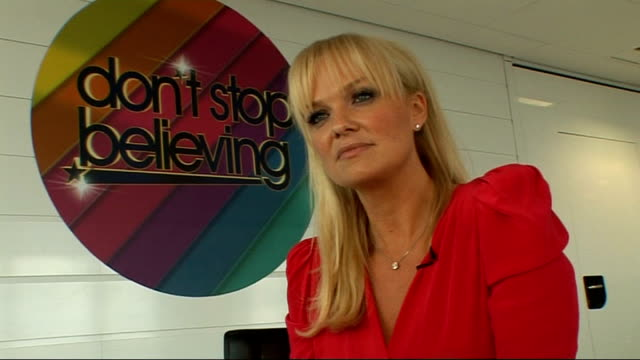 'Don't Stop Believing' talent show launch interviews with celebrity host and judges Emma Bunton interview continues SOT On her most memorable...