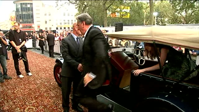 'downton abbey' red carpet series premiere ****please england london leicester square photography*** vintage car pulls up jim carter and laura... - premiere stock videos & royalty-free footage