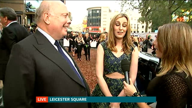 'Downton Abbey' series 5 premiere Carmichael and Fellowes LIVE interview on red carpet with reporter in shot SOT