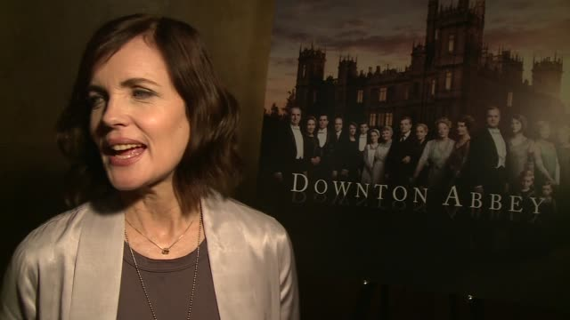Downton Abbey series 6 launch Elizabeth McGovern interview SOT / McGovern speaking to press / chandaliers and Downton Abbey poster