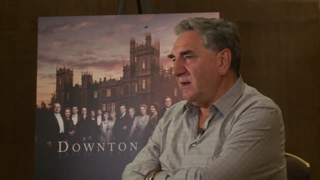 Downton Abbey series 6 launch ENGLAND London INT Rob JamesCollier and Michael Fox speaking to press / Jim Carter speaking to press / Hugh Bonneville...
