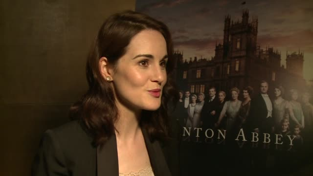 Downton Abbey series 6 launch Julian Fellows speaking to press / Michelle Dockery interview SOT / Lesley Nicol and Sophie McShera interview SOT