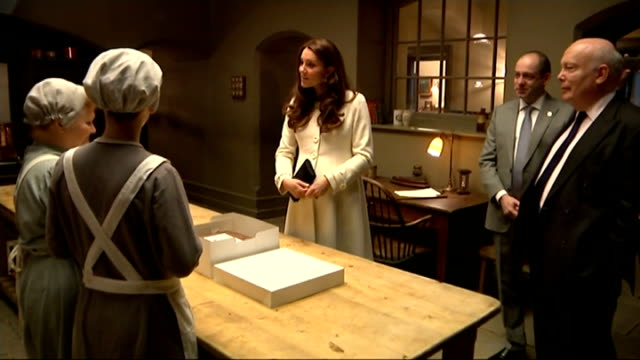 Duchess of Cambridge visits 'Downton Abbey' set at Ealing Studios Various of Duchess of Cambridge touring kitchen set and meeting actors Lesley Nicol...