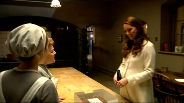 Duchess of Cambridge visits 'Downton Abbey' set ENGLAND London Ealing Studios PHOTOGRAPHY** Catherine Duchess of Cambridge chatting to Sophie McShera...