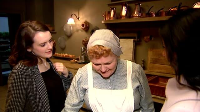 Duchess of Cambridge visits 'Downton Abbey' set Lesley Nicol interview SOT/ Jim Carter interview SOT Jim Carter meeting Duchess of Cambridge on...
