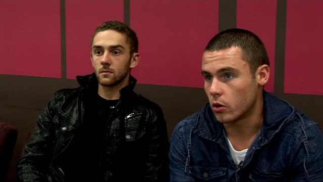 vídeos y material grabado en eventos de stock de emmerdale cast interviews; marc silcock and danny miller interview sot - on where danny is keeping his awards / their gay relationship storyline - telenovela