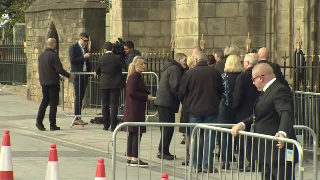 funeral of 'coronation street' actress liz dawn; greater manchester: salford: salford cathedral: ext actors from cast of tv soap opera 'coronation... - soap opera stock videos & royalty-free footage