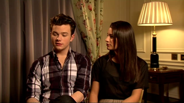 'glee' cast interviews chris colfer and lea michele interview sot on whether their characters will graduate this year / want they hope for in the... - chris colfer stock videos and b-roll footage