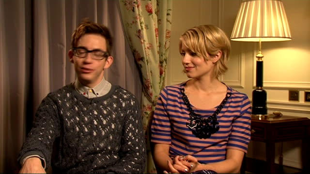 'glee' cast interviews kevin mchale and dianna agron interview sot on their favourite songs they've performed on the show / weirdest fan interactions - dianna agron stock videos and b-roll footage
