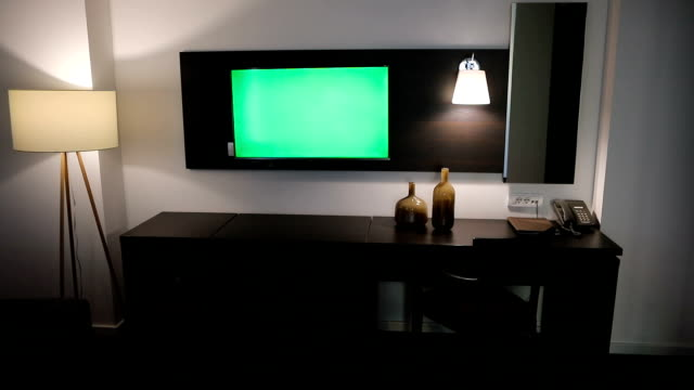 television green screen in the hotel room - liquid crystal display stock videos & royalty-free footage