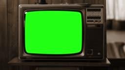1980S Television Green Screen. Sepia Tone.