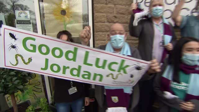 i'm a celebrity jordan north's turf moor 'happy place' moment raises thousands for charity england lancashire burnley turf moor int 'happy place'... - mug stock videos & royalty-free footage