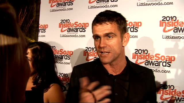 inside soap awards 2010: red carpet arrivals; scott maslen interview sot - on winning the sexiest male award / training for strictly come dancing /... - eastenders stock videos & royalty-free footage