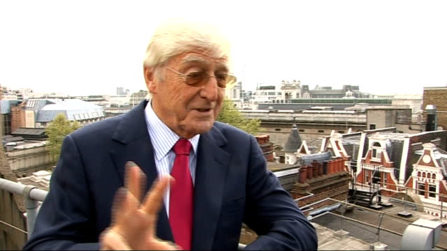 interview with michael parkinson; england: london: ext michael parkinson interview sot - autobiography was a best seller in hardback / enjoyed... - biographie stock-videos und b-roll-filmmaterial
