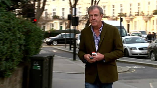 jeremy clarkson appears to suggest he may not return to 'top gear' england london ext jeremy clarkson along road and towards press photographers - jeremy clarkson stock videos & royalty-free footage