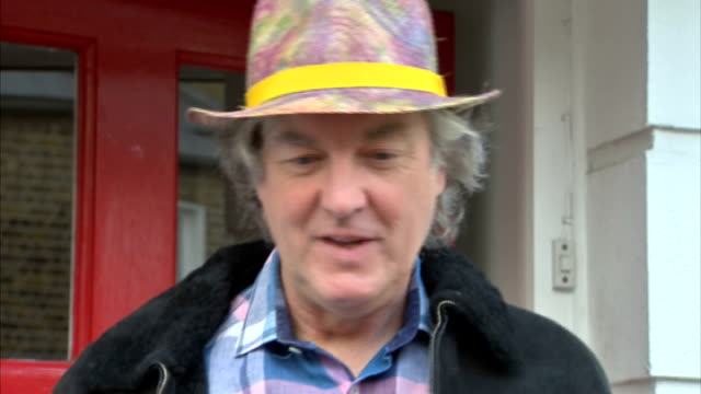 jeremy clarkson sacked by bbc james may doorstep england london ext james may out of house and speaks to press sot - jeremy clarkson stock-videos und b-roll-filmmaterial