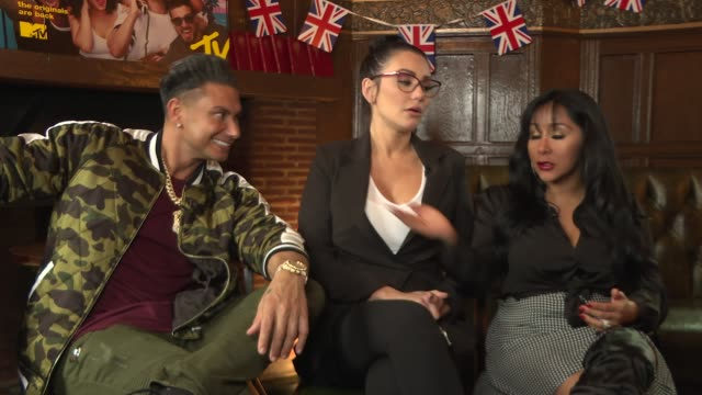 'jersey shore family vacation': cast interviews; england: london: int pauly d , jwoww and snooki interview sot - re 'jersey shore family vacation' - cast member stock videos & royalty-free footage