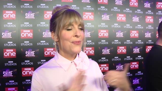 vídeos de stock e filmes b-roll de television 'let it shine' red carpet interviews england london int mel giedroyc red carpet interview sot re new show 'let it shine' - mel giedroyc