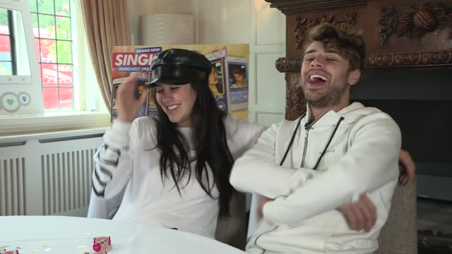 mtv show 'single af' cast interviews england ext celebrities jedward elliot crawford casey johnson and marnie simpson appearing in new mtv show... - jedward stock videos and b-roll footage