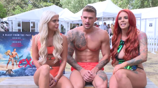 s ex on the beach - series 9 junket intvs; england: ext ex on the beach participants, natalee harris, aaron gill and alicia bradon interview sot - television show stock videos & royalty-free footage
