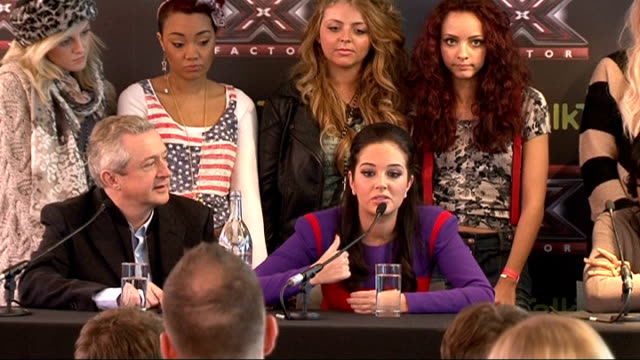 stockvideo's en b-roll-footage met judges and contestants press conference ahead of x-factor final; tulisa contostavlos press conference sot - on little mix - girl group hasn't got... - spelkandidaat