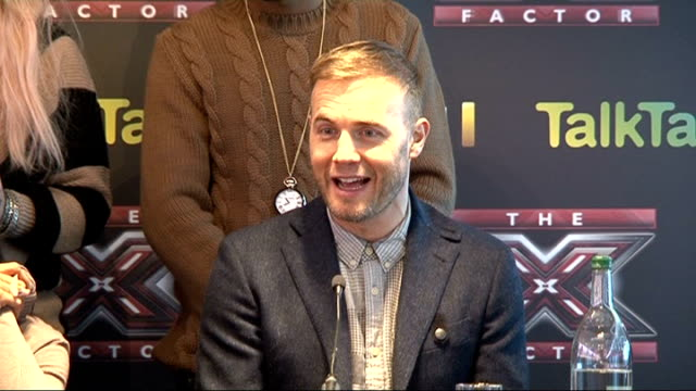 stockvideo's en b-roll-footage met judges and contestants press conference ahead of x-factor final; tulisa press conference sot - on being more nervous than little mix gary barlow... - spelkandidaat